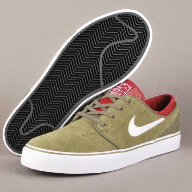 detailed images online store official site Nike SB Nike Zoom Stefan Janoski Skate Shoes - Medium Olive/White Team  Red-Black