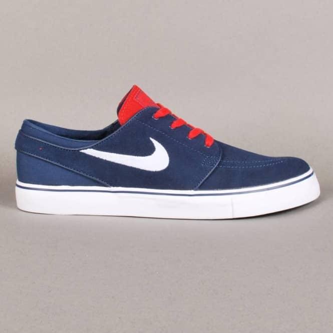 Nike SB Stefan Janoski Zoom Midnight Navy Crimson Sneakers (Midnight Navy/White-Light Crimson)