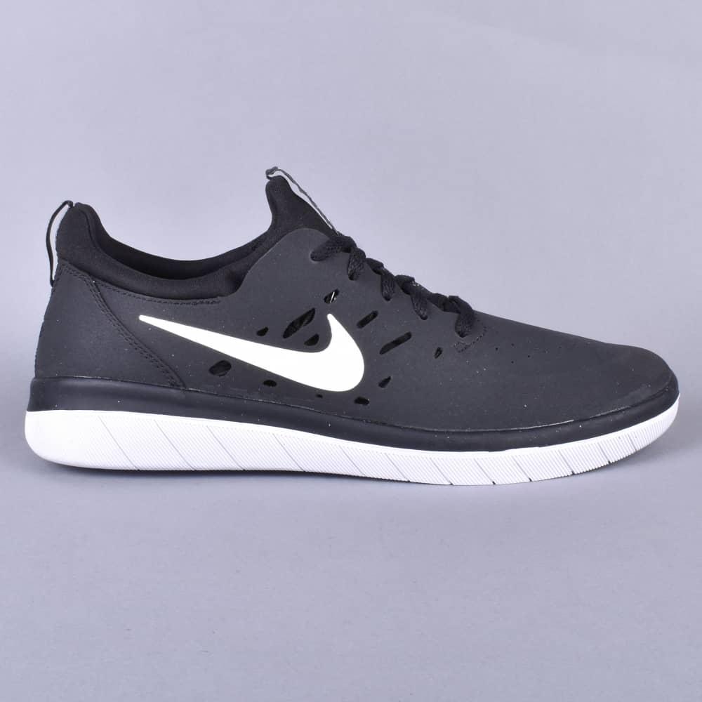 1c3cf64f2e854 Nike SB Nyjah Free Skate Shoes - Black White - SKATE SHOES from ...