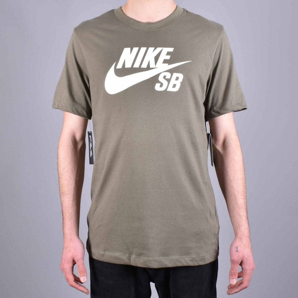 40a3627e Nike SB SB Logo Skate T-Shirt - Medium Olive/White - SKATE CLOTHING ...