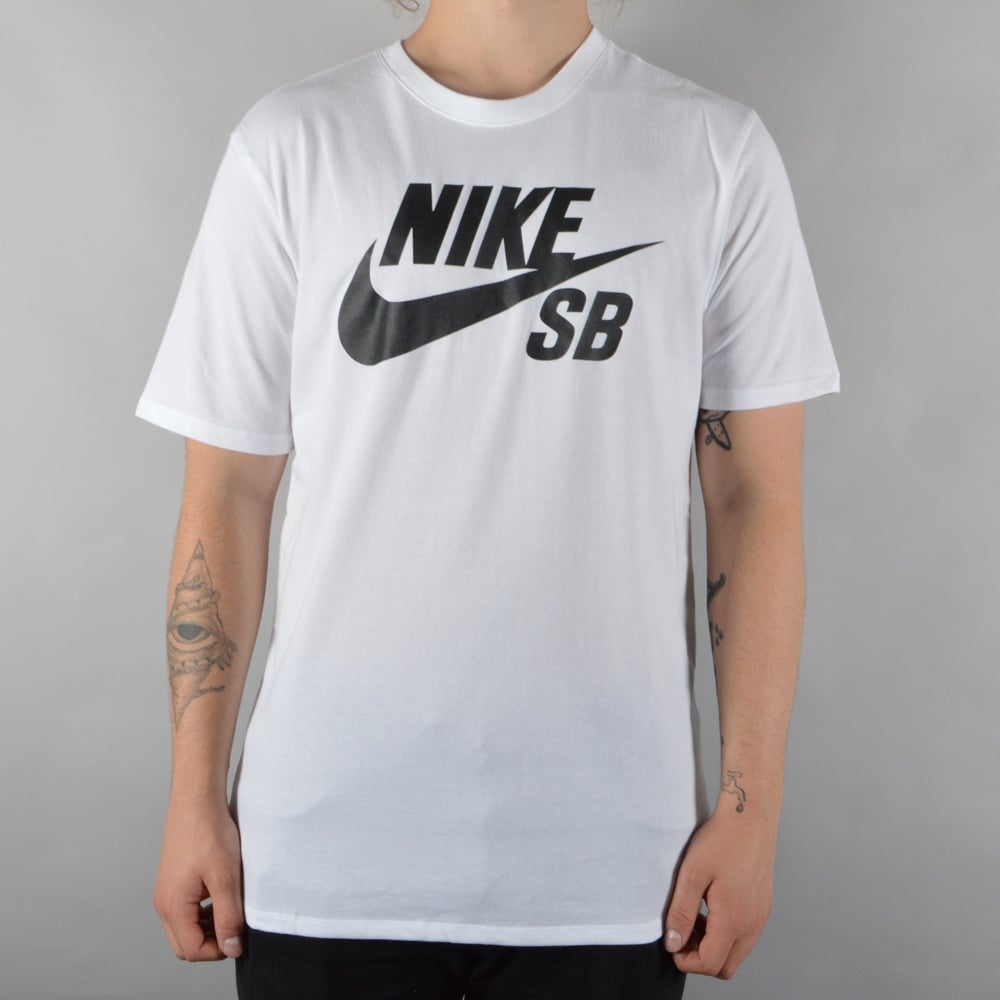 ae8b4ab01c44 Nike SB SB Logo Skate T-Shirt - White Black - SKATE CLOTHING from ...