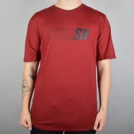 Skyline Dri-Fit Cool GFX Skate T-Shirt - Dark Cayenne/Black