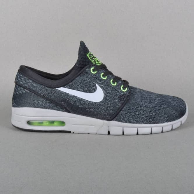 new product 663a8 cf72b Stefan Janoski Max Skate Shoes- Black Wolf Grey - Flash Lime