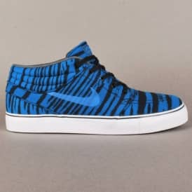 Stefan Janoski Mid Premium Skate Shoes - Military Blue/Black/White-White