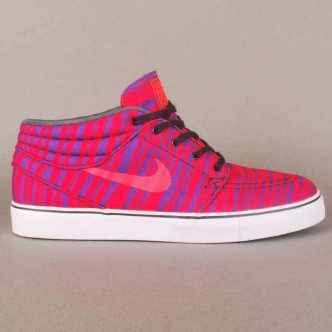 Stefan Janoski Mid Premium Tiger Stripes Skate Shoes - Laser Crimson/Black- Purple Venom