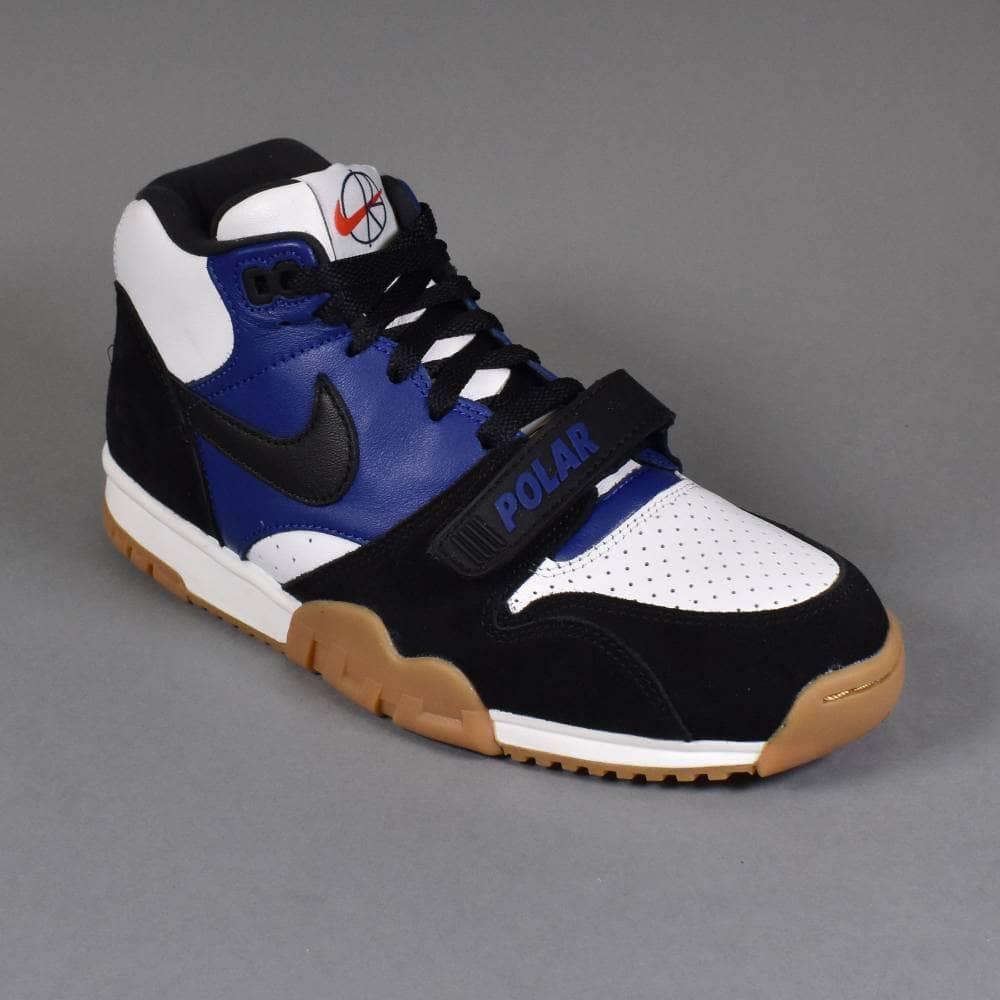 54acfe248f Nike SB x Polar Air Trainer 1 QS Skate Shoes - Black/Black-Deep ...