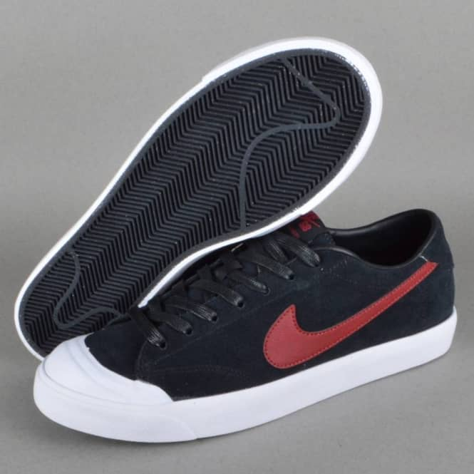 5244ab2a3fb5b Nike SB Zoom All Court CK Skate Shoes - Black Team Red-White - SKATE ...