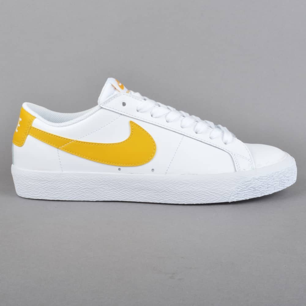 bd59dd241bb3 Nike SB Zoom Blazer Low Skate Shoes - White Mineral Gold - SKATE ...