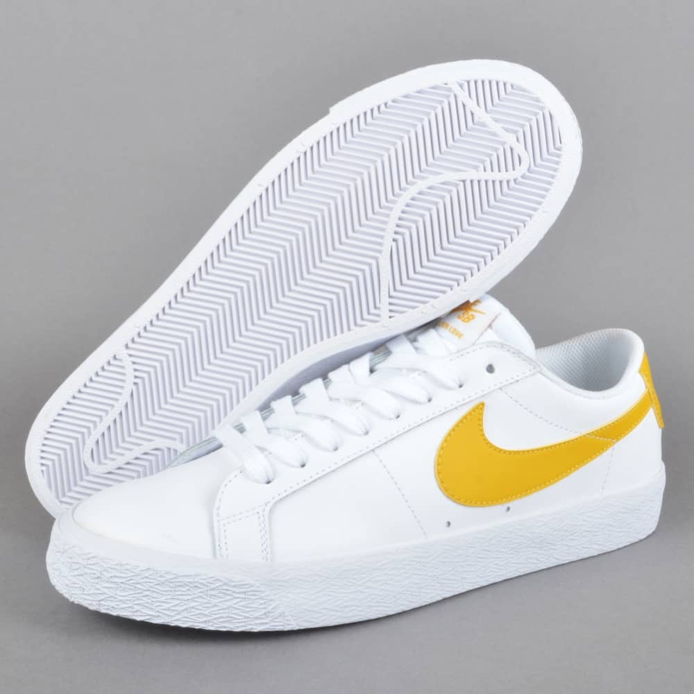 new concept 5ac44 acb56 Zoom Blazer Low Skate Shoes - White/Mineral Gold