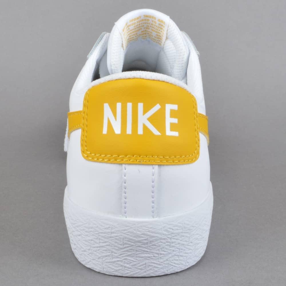 682e021bb01165 Nike SB Zoom Blazer Low Skate Shoes - White Mineral Gold - SKATE ...