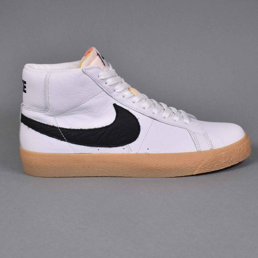 uk availability b2f13 17d3a Nike SB Zoom Blazer Mid ISO Skate Shoes - White/Black-Safety Orange