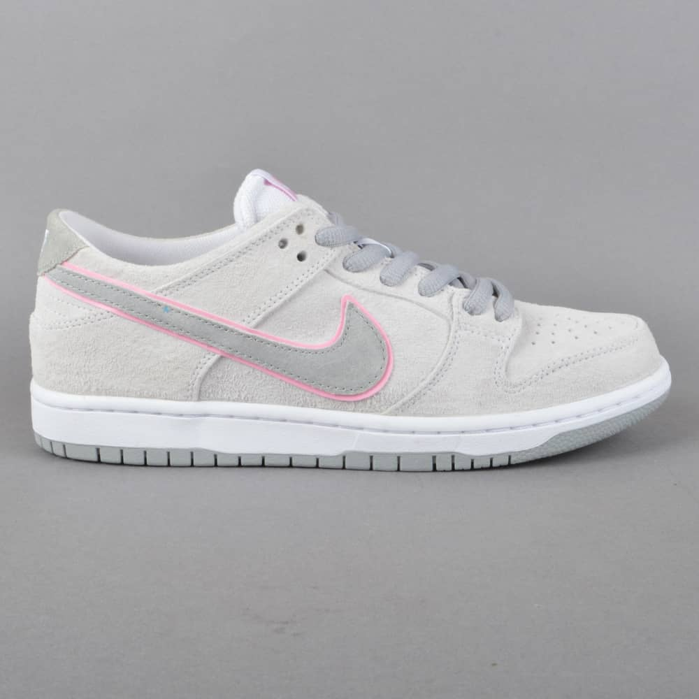 detailed look e6884 e4709 Zoom Dunk Low Pro IW Skate Shoes - White/Perfect Pink-FLT Silver