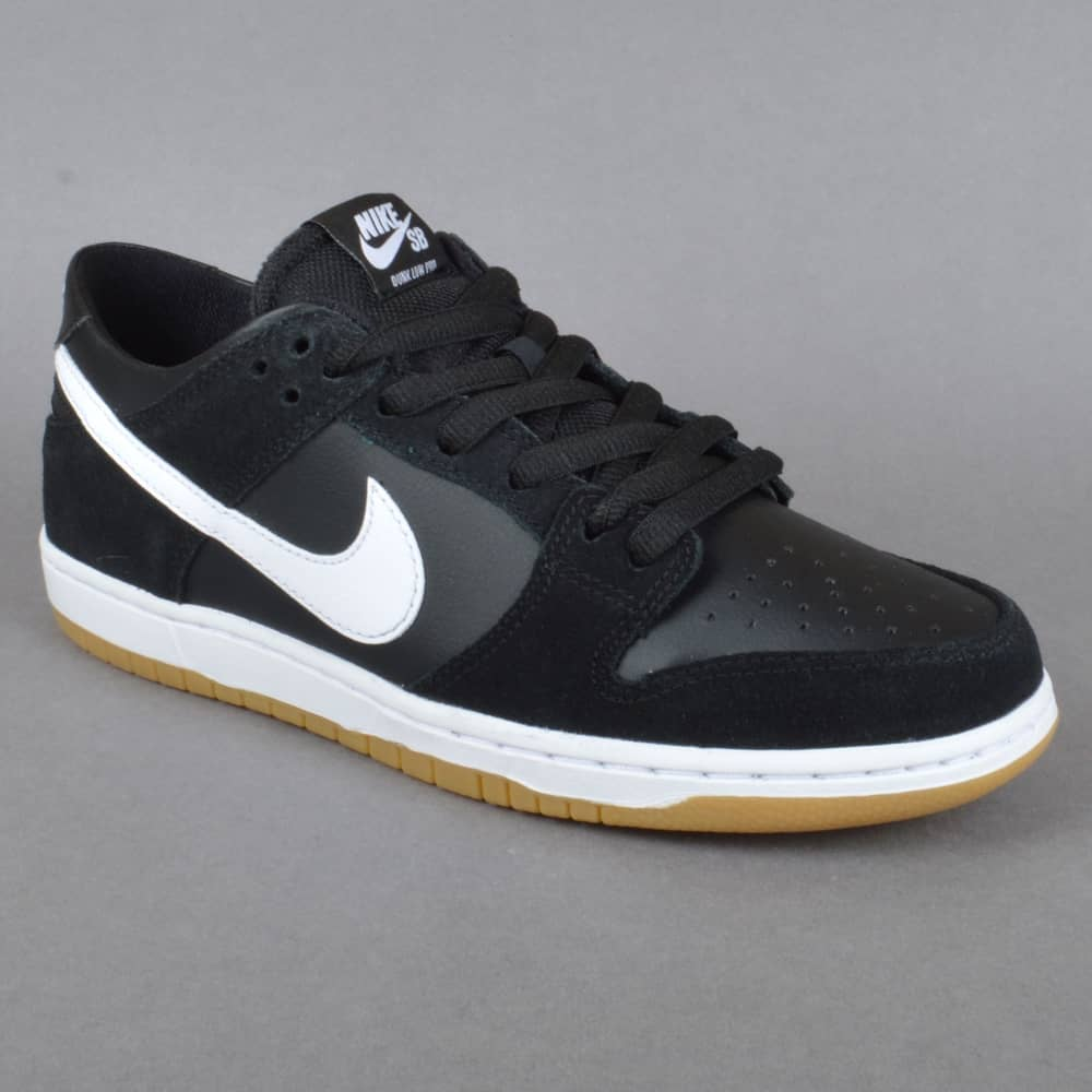 zoom dunk low pro skate shoes black white gum light brown