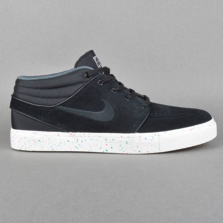 Nike SB Zoom Stefan Janoski Mid Skate Shoes - Black/Black Photo Blue-Ivory