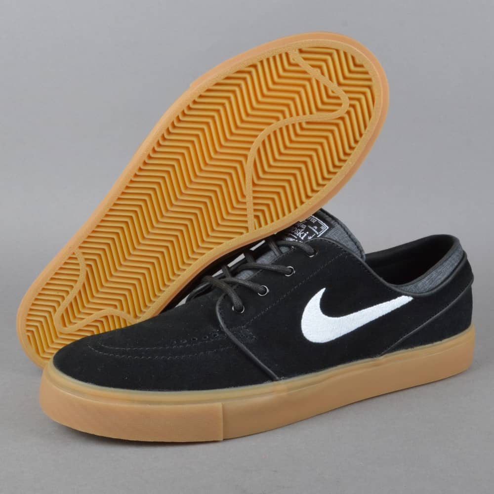 half off aed22 9f329 Zoom Stefan Janoski Skate Shoes - Black White-Gum Light Brown