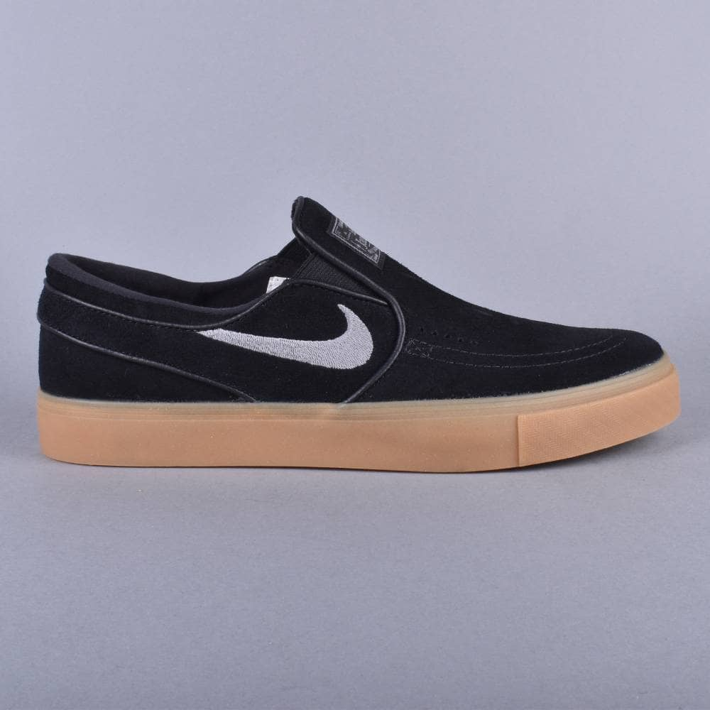 codo Enriquecimiento Anestésico  Nike SB Zoom Stefan Janoski Slip Skate Shoes - Black/Gunsmoke Gum Light  Brown/Gunsmoke - SKATE SHOES from Native Skate Store UK
