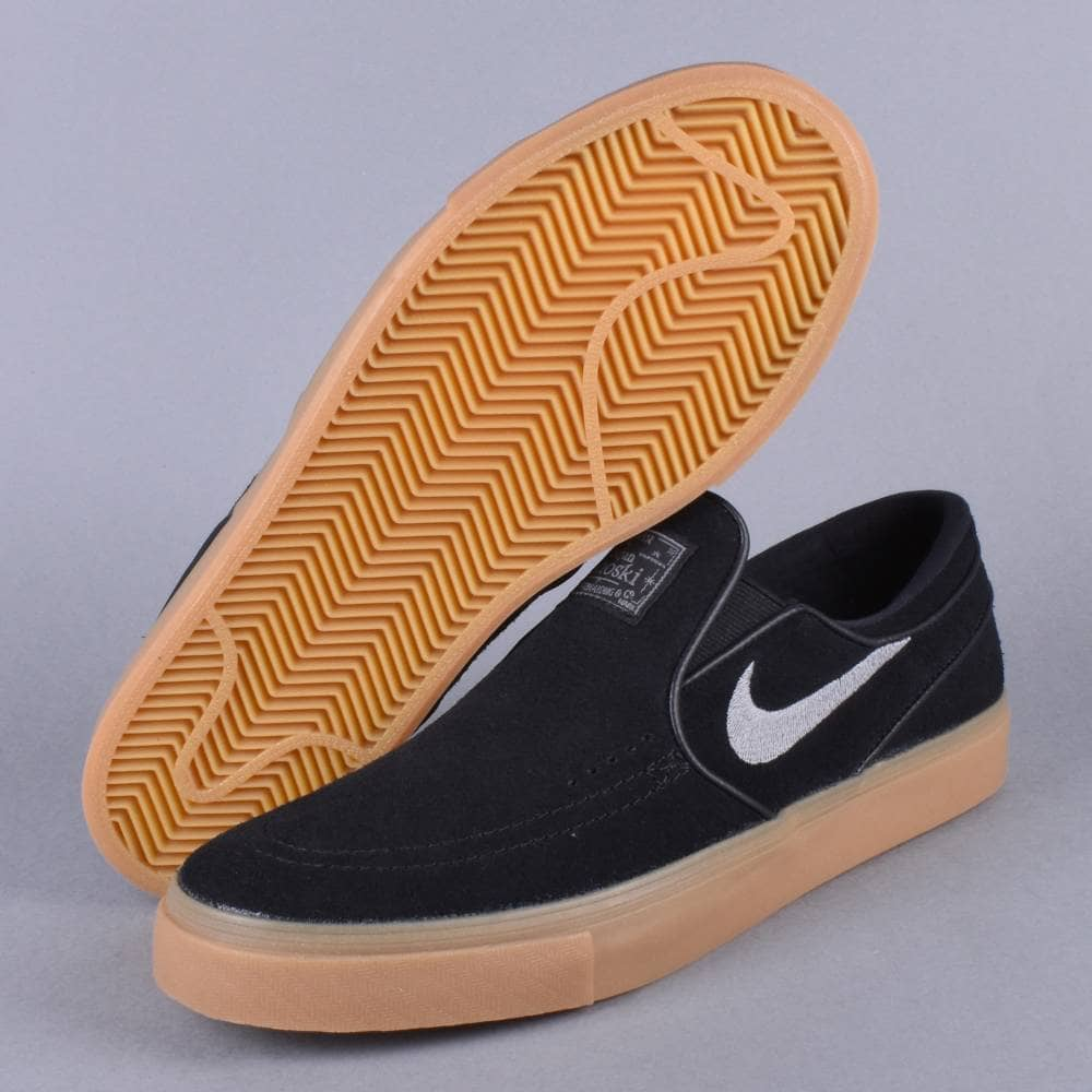 Zoom Stefan Janoski Slip Skate Shoes BlackGunsmoke Gum Light BrownGunsmoke