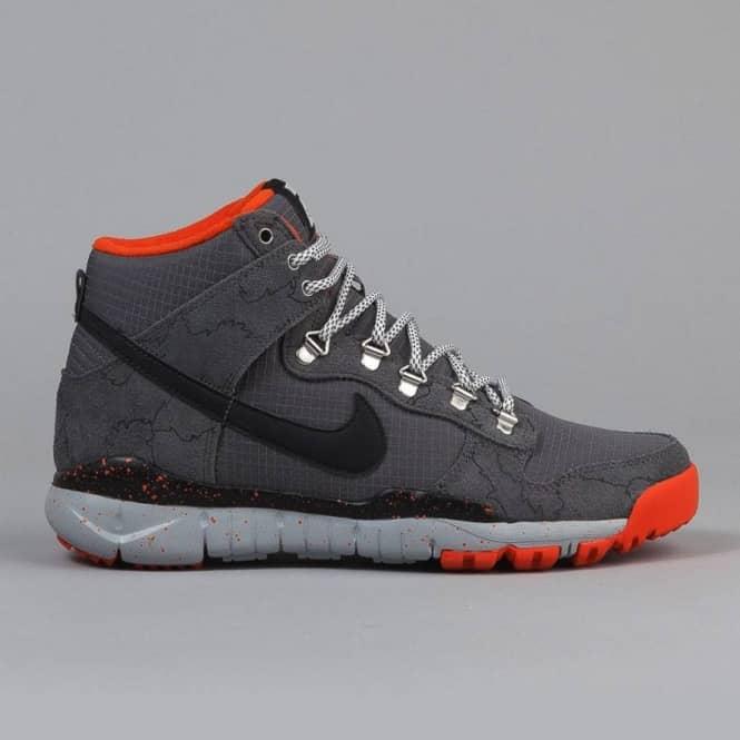 premium selection 63a37 1ee62 Nike SB Nike SB X Poler Stuff Dunk High R R Skate Shoes - Dark Grey Black  Wolf Grey-University Orange