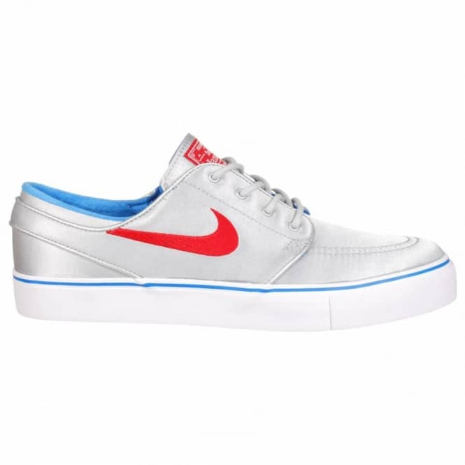 Nike SB Nike Zoom Stefan Janoski PR SB Skate Shoes - Metallic Silver/University Red PRZ Blue