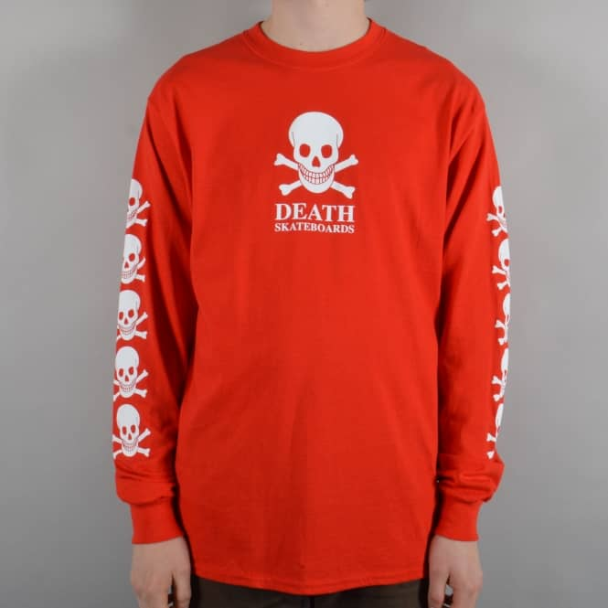 Death Skateboards OG Skull Longsleeve Skate T-Shirt - Red