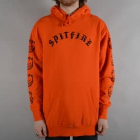Old E Embroidered Pullover Hoodie - Orange/Black