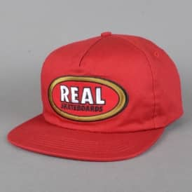 Oval Unstructured Snapback Cap - Red
