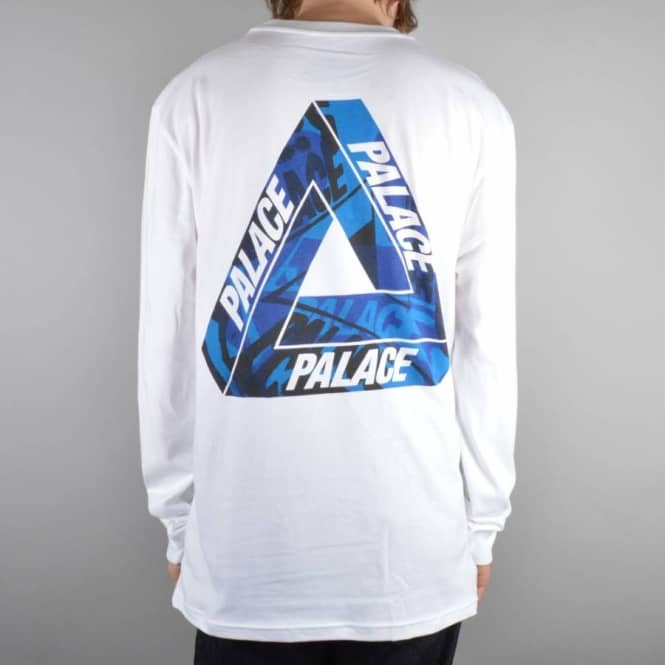 71052717152b Palace Skateboards One Wave Blue Long Sleeve T-Shirt - White - Skate ...