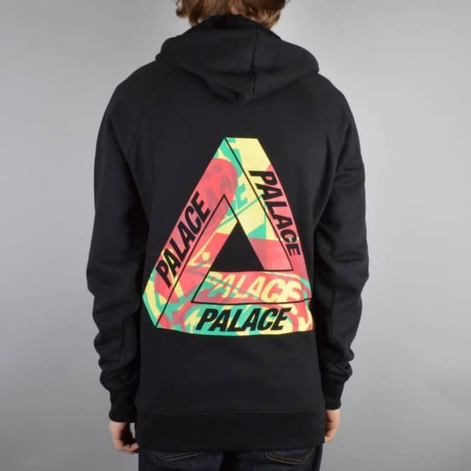 Palace Skateboards One Wave Rasta Pullover Hoodie - Black - Hooded Tops From Native Skate Store UK
