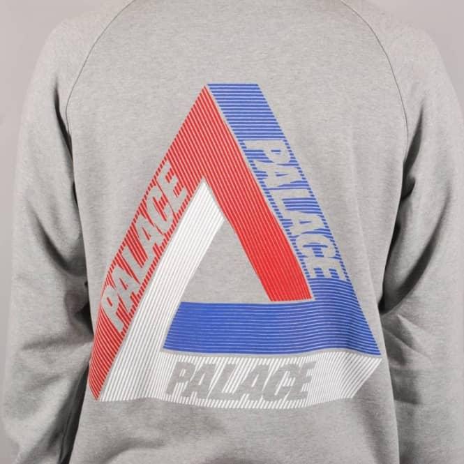 c2063ca100f0 Palace Skateboards Palace Tri-Line Brit Crewneck Sweater - Grey ...