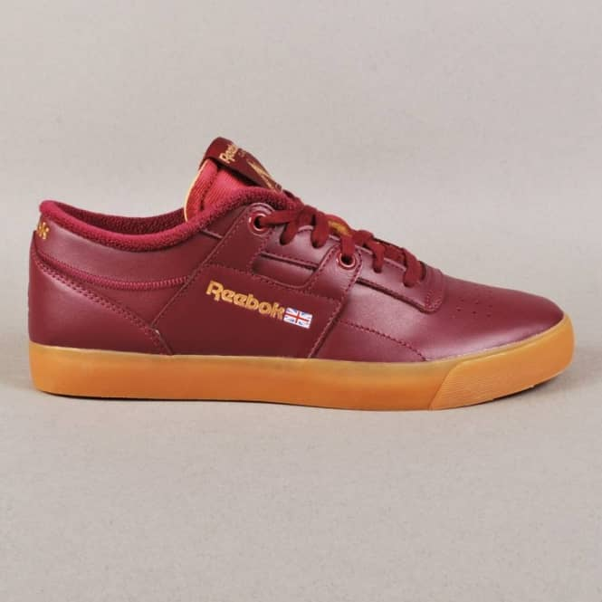 Palace x Reebok Workout Low Clean FVS Skate Shoes - Palace Burgundy White e9ca10d59