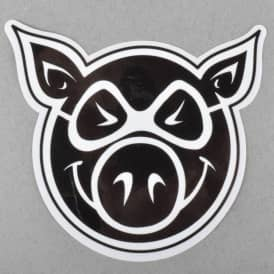 Pig Wheels Pig Head Skateboard Sticker - Black