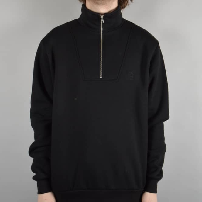 Polar Skateboards Pique Zip Neck Sweatshirt - Black