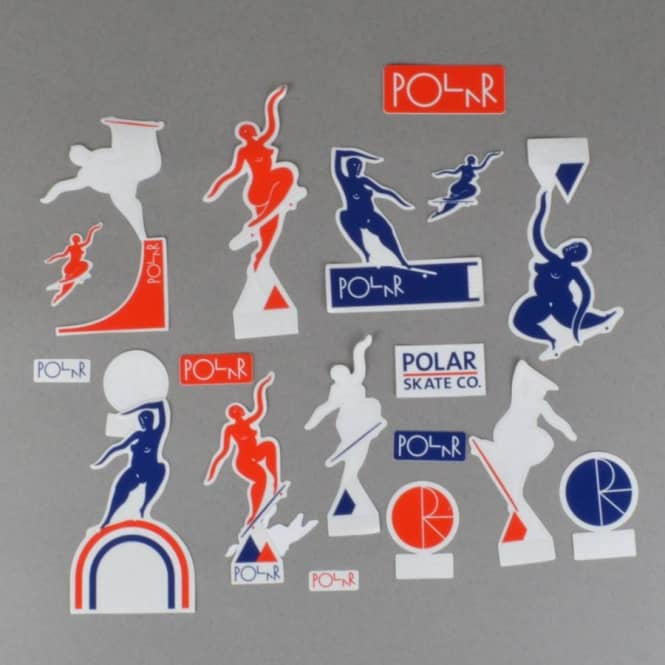 Polar Skateboards Cut Out Sticker Pack - Red/Navy/White