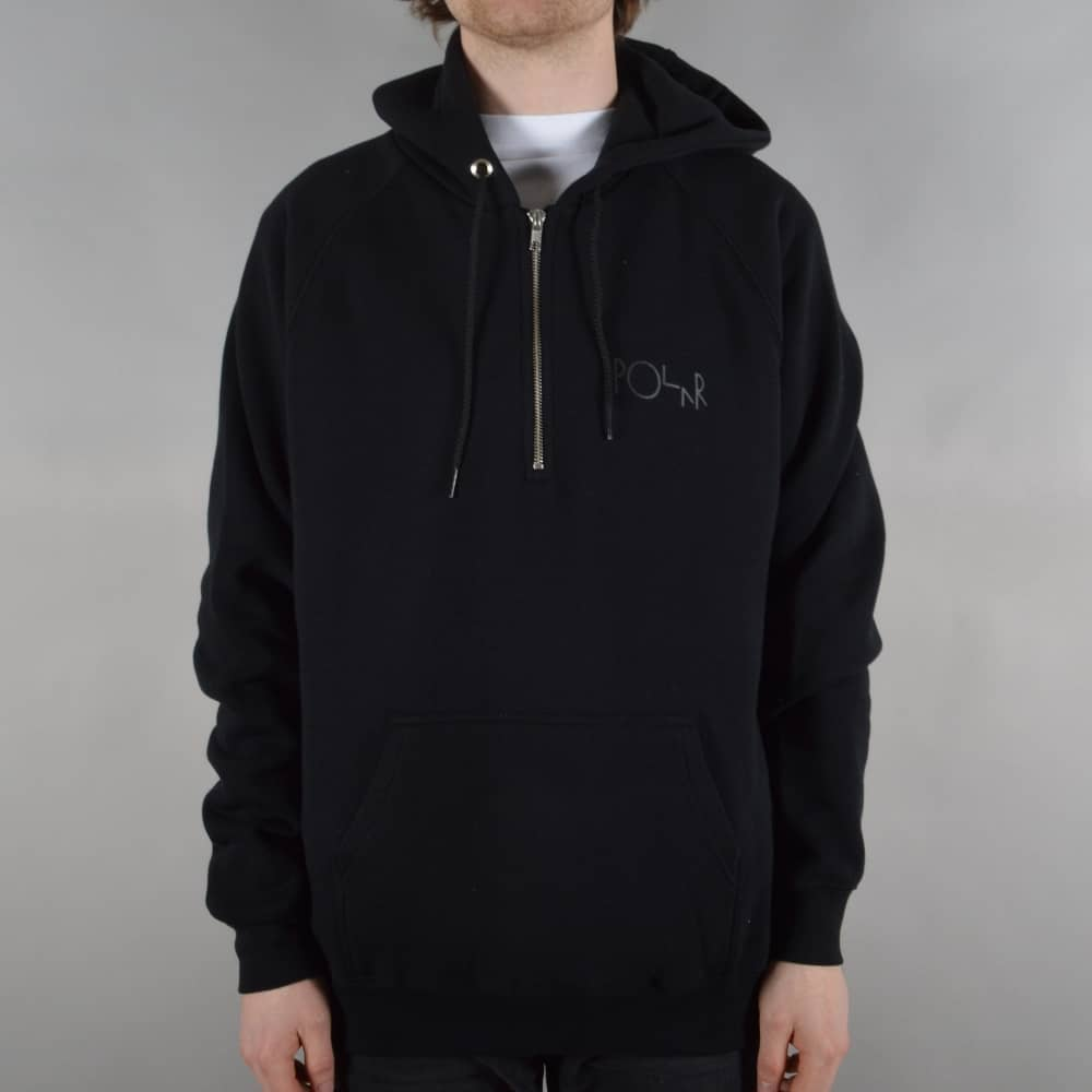 78847bfb158 Polar Skateboards Half Zip Pullover Hoodie - Black - SKATE CLOTHING ...
