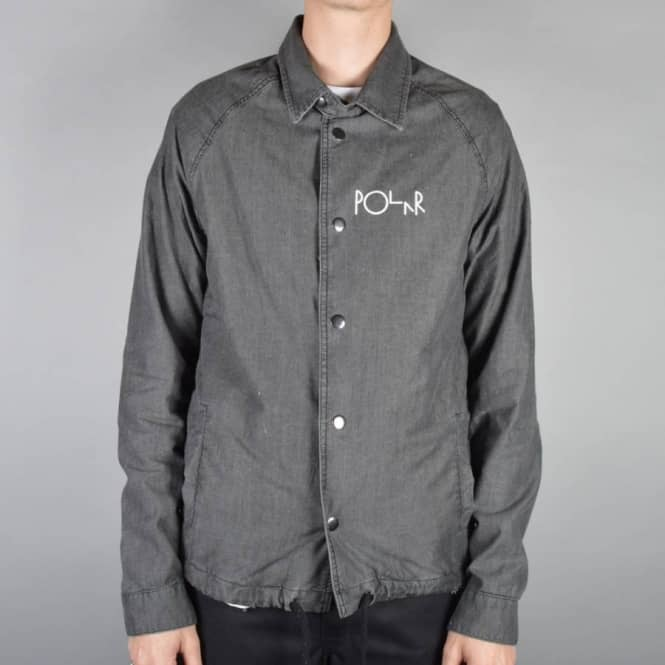 Polar Skateboards Polar Stroke Logo Denim Coach Jacket - Black/White