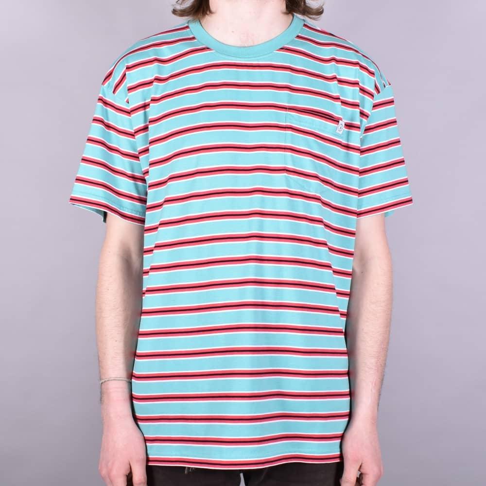 5d16bf4d0b Polar Skateboards Striped Pocket T-Shirt - Mint/Coral Red - SKATE ...