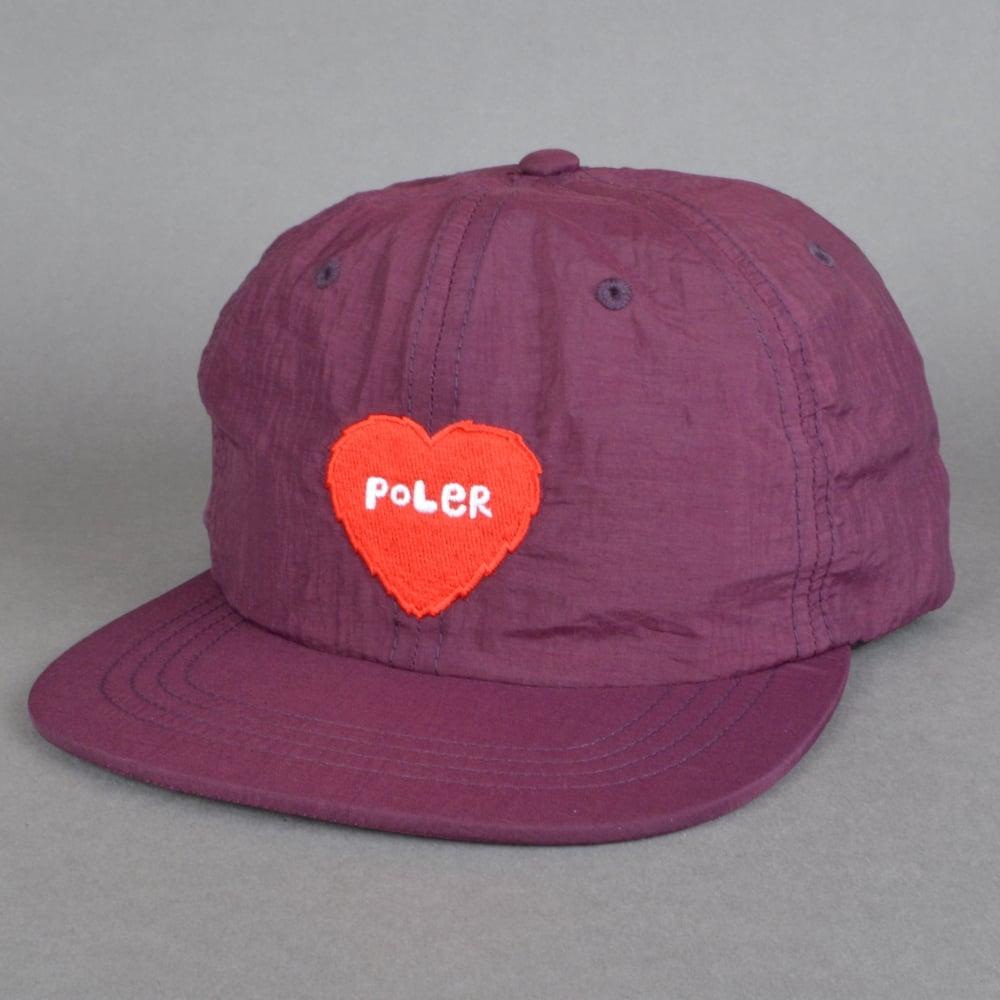 Poler Stuff Furry Heart Nylon Floppy 6 Panel Cap - Plum - SKATE ... 78661209ab3