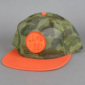 Pop Top Full Mesh Trucker Snapback Cap - Fury Green Camo