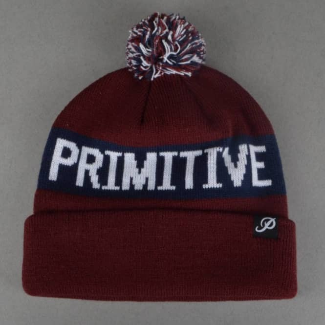 Primitive Apparel Block Pom Pom Beanie - Burgundy
