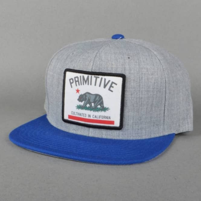 44c51626a5e Primitive Apparel Cultivated Patch Snapback Cap - Heather Grey Royal ...