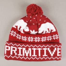 Primitive Jolly Bear Pom Pom Beanie - Burgundy