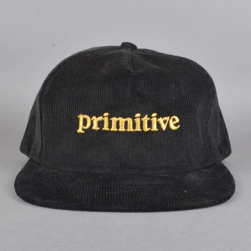 Primitive Skateboarding Good For Life Corduroy Snapback Cap - Black ... 3b2a7783172