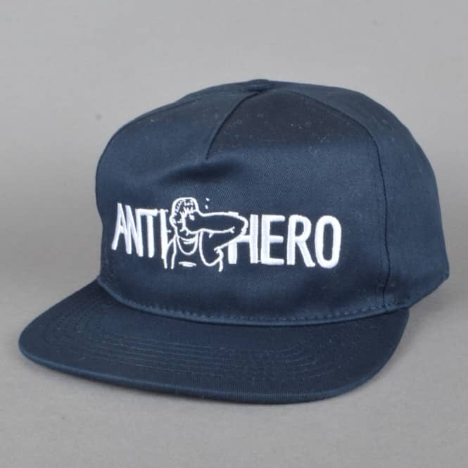 Antihero Skateboards Punch Embroidered Snapback Cap - Navy
