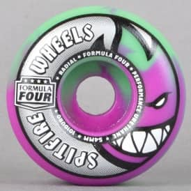 Radials Purple/Mint Swirl 101D Formula Four Skateboard Wheels 54mm