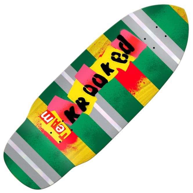 Krooked Skateboards Rat Stick XL (Green/Yellow Stain) Skateboard Deck 10.2