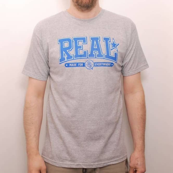 Real Skateboards Real Drop Out Skate T-Shirt Heather Grey