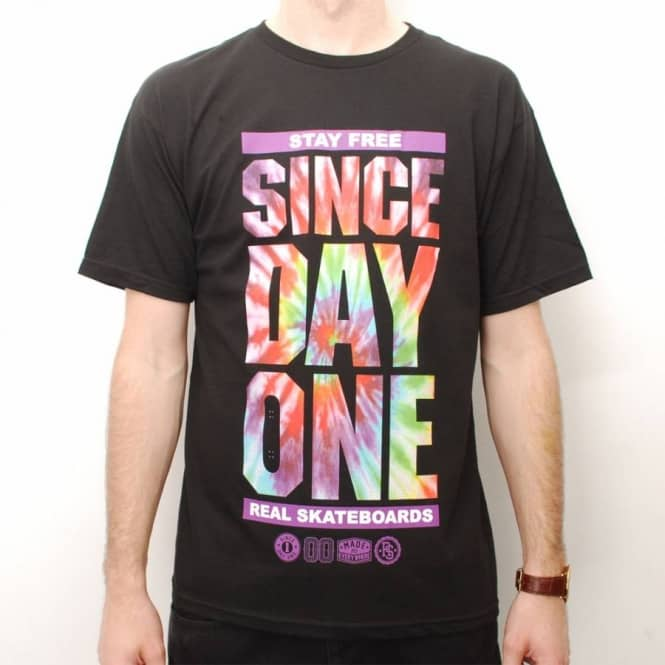 Real Skateboards Real Since Day One Tie Dye Skate T-Shirt - Black