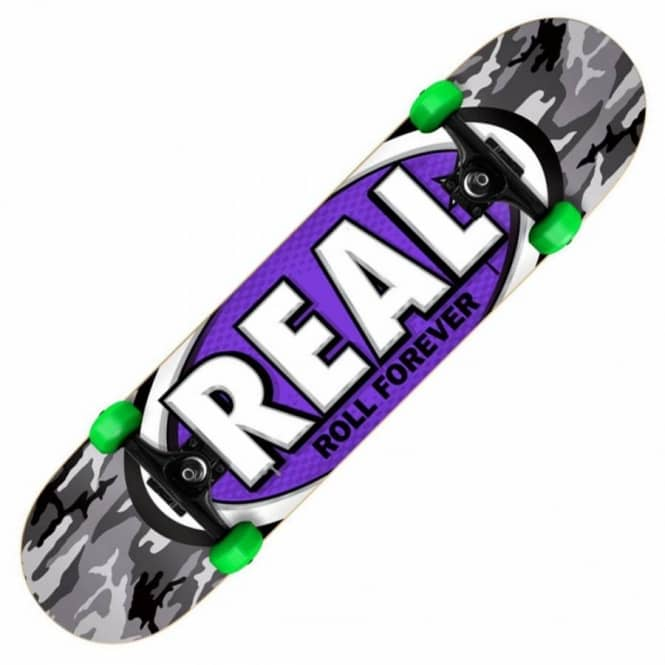 Real Skateboards AWOL Oval Camo/Purple MINI Complete Skateboard 7.3