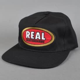 Real Skateboards Oval Unstructured Snapback Cap - Black/Red