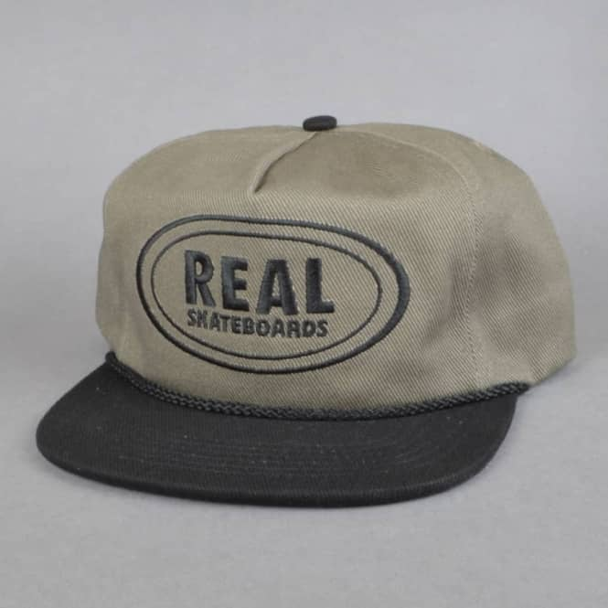 Real Skateboards Oval Unstructured Snapback Cap - Grey/Black